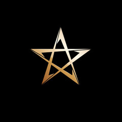 Vector logo golden star on black background