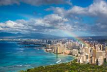 "Постер, картина, фотообои ""Rainbow over Hawaii skyline"""