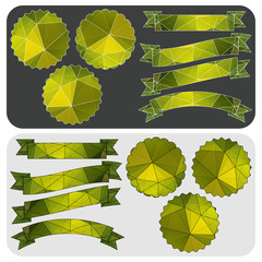 Green ribbons and badges of the polygonal pattern. Vector