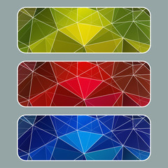 Set of colored banners with polygonal background. White stroke