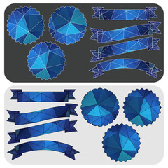 Set of blue ribbons and emblems of the polygonal pattern. Vector