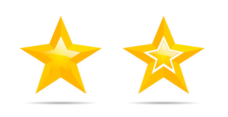 Two golden stars on white background