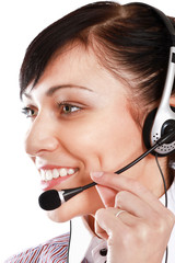 Beautiful business woman with headset.