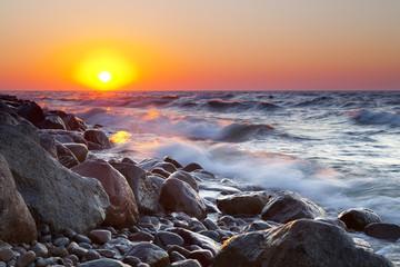 The pebble beach at sunset - Rozewie, Poland, long exposure