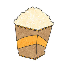 Paper bag full of popcorn