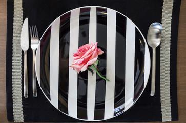 rose on pattern plate dinning set wedding concept
