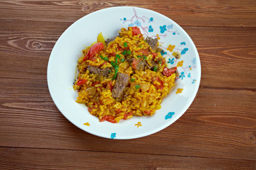 East Indian Biryani Rice Dish with Meat