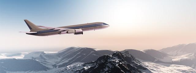 Verkehrsflugzeug über einem Gebirge in der Morgensonne