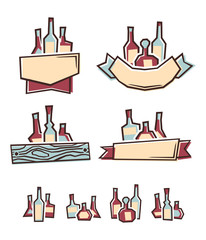 Alcohol labels. Vector illustration.