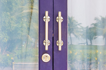 blue door with stainless Handle