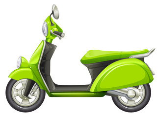 A green scooter