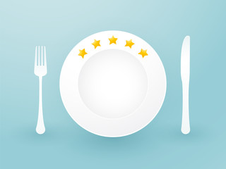 white plate with five stars and cutlery