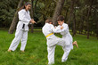 Two kids practicing judo outdoors in a park under the supervisio