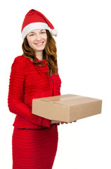 woman in red dress with many gift boxes