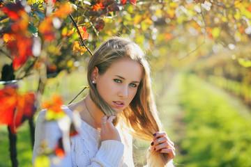 Beautiful young woman in warm light
