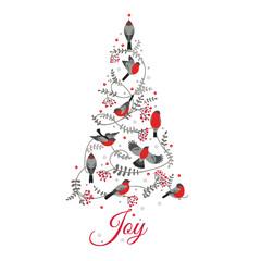 Retro Christmas Card - Birds on Christmas Tree