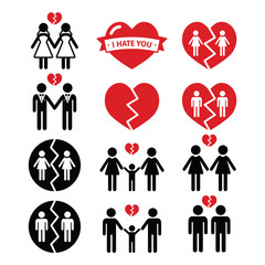 Gay or lesbian Couple breakup, divorce vector icons set