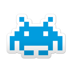 Pegatina simbolo marciano de videojuego