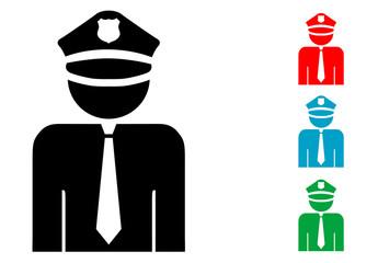Pictograma policia con varios colores