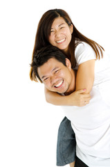 Asian man piggyback his girlfriend