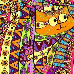 Seamless decorative cat pattern ornamental background
