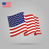 Flat and waving American Flag. Vector - 72185575