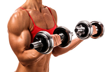 Fit woman with barbells, isolated on white