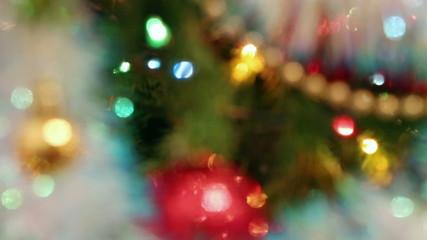 christmas decorations on fir closeup - rack focus