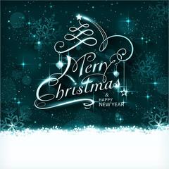 Magic Christmas night typography card