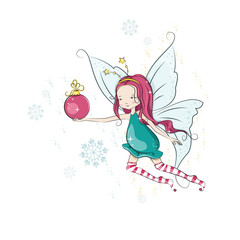 Cute Christmas flying fairy and her hand bright Christmas ball.