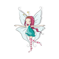 Cute Christmas fairy. Vector illustration