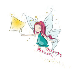 Cute Christmas fairy fly and her hand magic Christmas tree