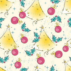 Colorful Christmas seamless pattern. Vector.