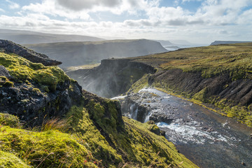 Scenic view of wild Icelandic landscape with river.