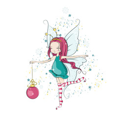 Cute Christmas fairy. Vector illustration