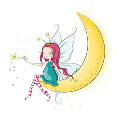 Cute Christmas fairy with magic wand. Vector