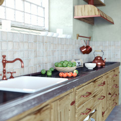 vintage kitchen interior. 3d concept