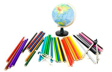 globe and crayons
