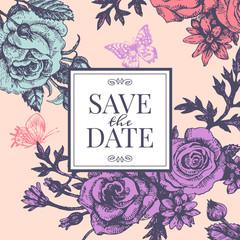 Vintage wedding invitation with rose flowers.