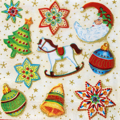 Beautiful Christmas pattern on napkin paper