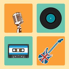 Retro Music Icons Set vector