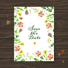 Save the date love card with watercolor floral bouquet