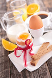 breakfast with egg, milk and coffee