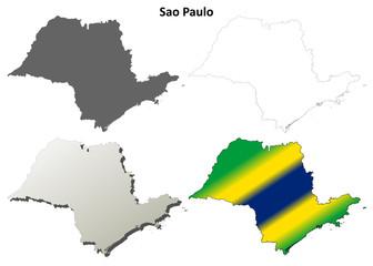 Sao Paulo blank outline map set
