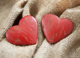 coeurs sur toile de lin