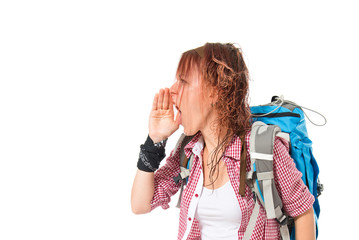 backpacker shouting over isolated white background