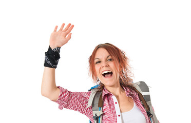 backpacker saluting over white background
