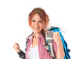 Lucky backpacker over isolated white background