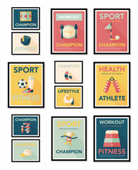 Sport poster flat banner design flat background set, eps10