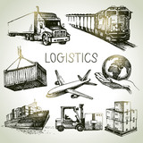 Hand drawn logistics and delivery sketch icons set. - 72189131